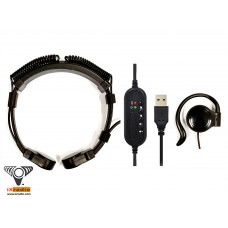 The Computer USB Throat Microphone System XCTM825L-USB (with in-line remote control)