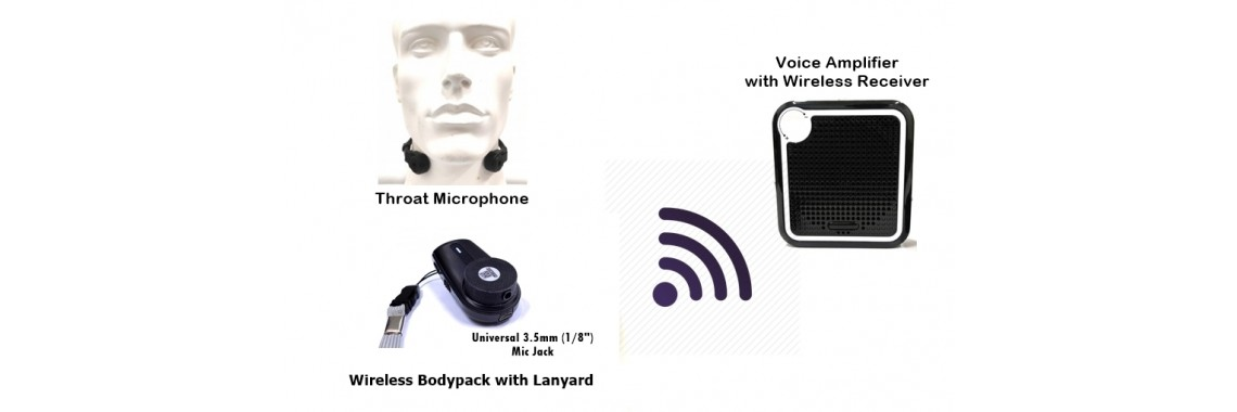 Throat Mic with Wireless Bodypack and Speaker