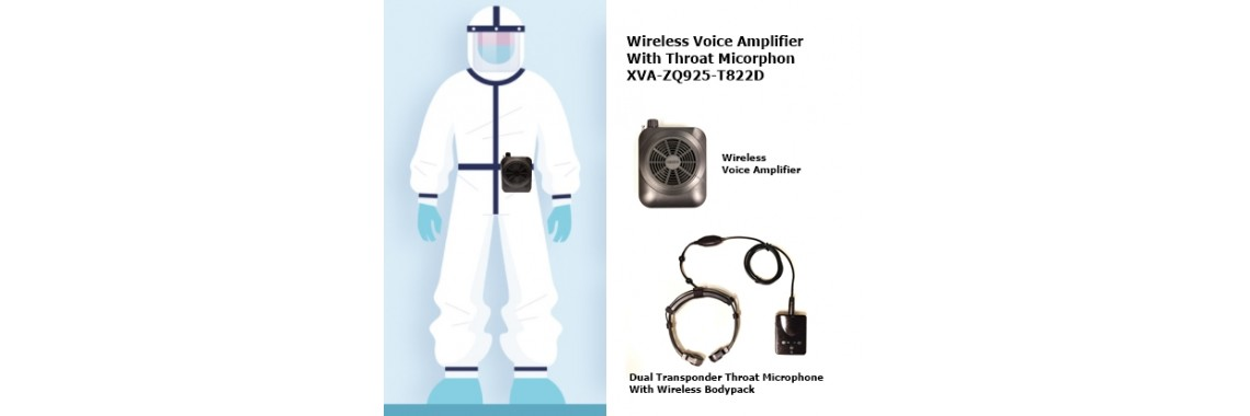 Voice Amplifier with Wireless Bodypack Throat Mic System